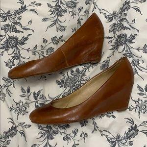 Genuine Leather Brown Wedges